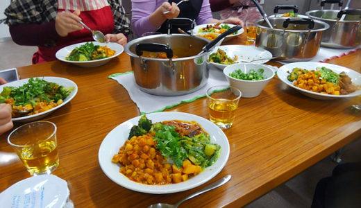 インドカレーをみんなで作って食べた調理実習会